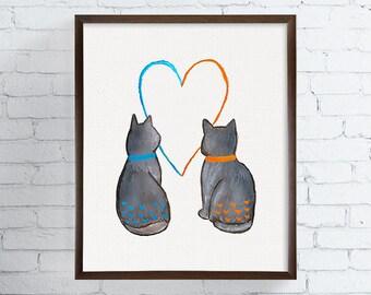 Watercolor Cat, Cat Painting, Cat Art Print, Cat Illustration, Cat Wall Decor, Cat Wall Art, Cat Poster, Wedding Gift, Cat Home Decor