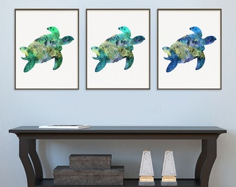 Watercolor Sea Turtle Print Set, Sea Turtle Art Prints, Bathroom Decor,  Coastal Wall