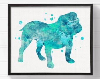 English Bulldog Art, English Bulldog Print, Watercolor English Bulldog, English Bulldog Painting, Watercolor Dog, Dog Wall Art, Dog Poster