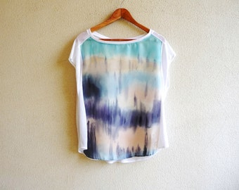 Fashion art,silk blouse,womens tops,silk shirt, painted blouse,silk top,sleeveless top,artwear,ombre clothing