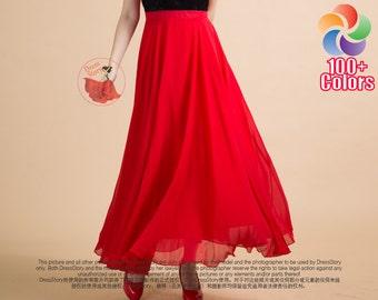 Red Maxi Skirt - Chiffon Maxi Skirt with Wide Hem and Narrow Waist Band - Long Chiffon Skirt - Summer Skirt Full Length Skirt SK139