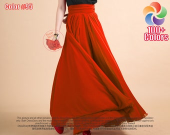 Orange Maxi Skirt - Tomato Chiffon Maxi Skirt with Ruched Waist Yoke and Layered Skirt - Long Flowy Chiffon Skirt - Full Length Skirt SK53