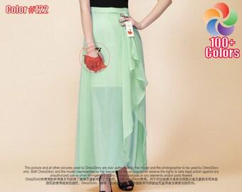 Light Green Chiffon Maxi Skirt with Asymmetric Hem and Side Slit - Mint Green Chiffon Maxi Skirt -Green Maxi Skirt - Asymmetric Skirt 15N427