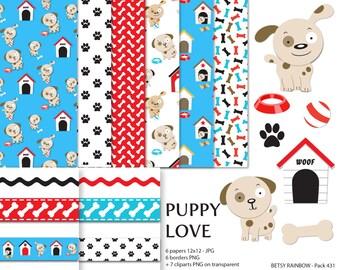 Dog Clipart, Dog Digital Paper, scrapbook papers, dog, puppy, scrapbook clip art  - BR 431