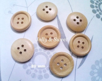 """Wood Wooden Buttons 15mm 20mm 3/5"""" 4/5"""" 4 holes pillow case blouse pants trousers curtain hat Sewing Scrapbooking DIY Craft embellishment"""