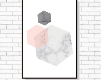 Marble Geometric print - Living Room Print / Wall Art / Printed Art