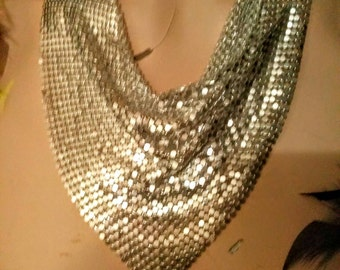 Metal Mesh Drape/ Bib Necklace