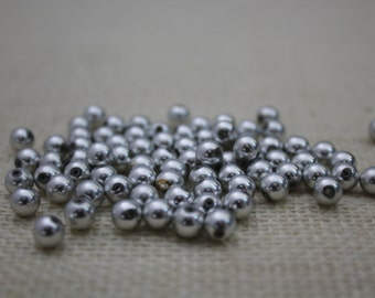 Vintage Matte Silver 6mm Round Beads (50 Pieces)