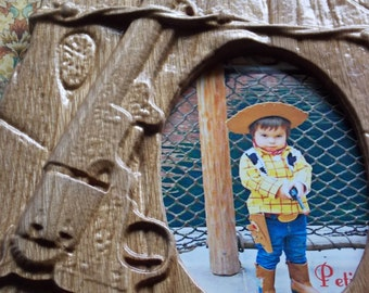 WOOD WALL ART Frames, Western Picture Frames, Barbed Wire Picture Frame, Rustic Country Frame, 3D Wood Carving