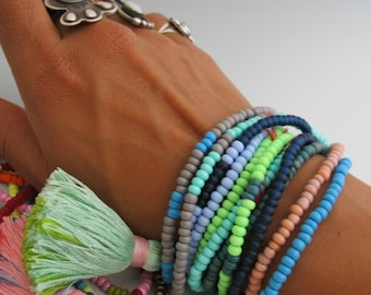 Tassel Jewelry Beaded Bracelet Seed Bead Beach Jewelry Boho Chic Long Strand Beads Ethnic Layered Beaded Tassel Jewelry Wrap Stacked Bangles