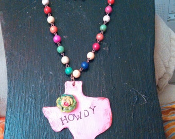One of a kind Clay Texas pendant muti-color 18in long