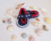 Crochet Flip Flops, Baby Flip Flops, Baby Sandals, Baby Shoes, Patriotic Red White and Blue