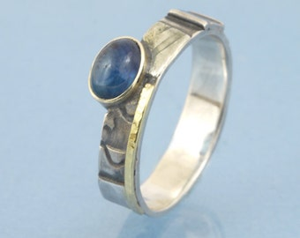 Sapphire mosaic ring with 585 gold and 925 sterling silver
