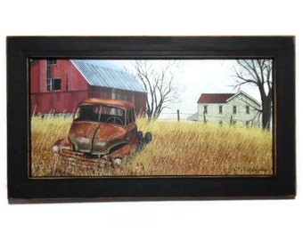 Truck Picture, Grand Dads Old Truck, Billy Jacobs, Primitive, Farmhouse, Barn, Wall Hanging, Handmade, 19X11, Custom Wood Frame, Made in USA