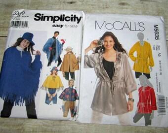 220) Mccalls 5635 Misses Size 6 8 10 12 14 Anorak Jacket Simplicity 5349 Misses Size 6 8 10 12 14 16  Poncho