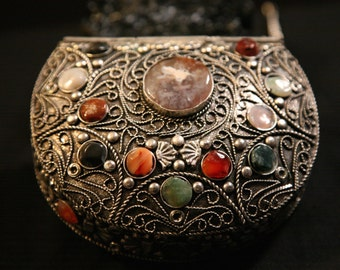 20% OFF! ~ Intricate Metal Purse with Inlaid with Semi Precious Stones