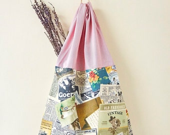 Handmade Vintage Pattern tote bag with zipper pocket