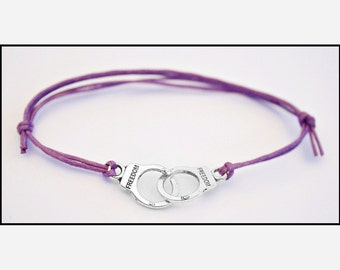 Purple Fifty Shades of Grey Adjustable Handcuff Bracelet