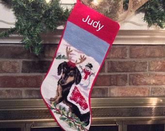 Black and Tan Dachshund Dog Stocking, dog stocking, Personalized Christmas Stockings, Dachshund needlepoint stocking, personalized