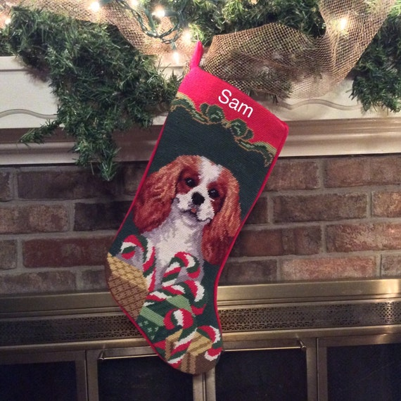 Cavalier King Charles Dog Stocking, Personalized Christmas stockings, Blenheim Cavalier King Charles Needlepoint Stocking, dog stocking[BABarkerGifts/Etsy]