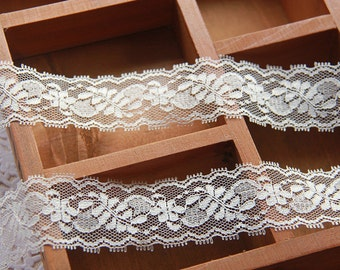 Lace Ribbon, Ivory Ribbon Lace, Wedding Decoration Lace Trim, Lace Tape,  Non-Stretched, Made In Taiwan, Good Quality, 10 yards