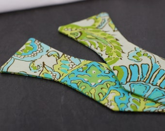 Handmade bow tie blue green floral self tie freestyle colorful cotton bowtie