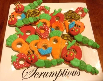 Hungry Caterpillar iced cookies.