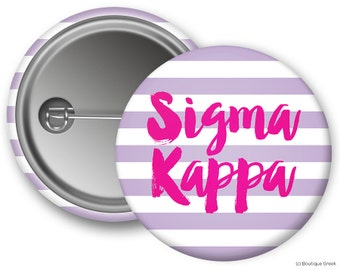 SK Sigma Kappa Stripe Sorority Greek Button