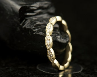 Scalloped Edge Diamond Wedding Band, 1/2 Eternity of Diamonds, Full Circle of Marquise Shapes, Stackable, Mothers Ring, Lesly A