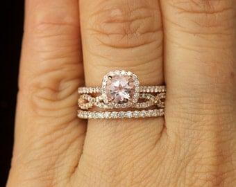 Morganite and Diamond Halo Engagement Ring, Diamond Wedding Bands in Rose Gold, Kylie B, Petite Bella & Hailey Set