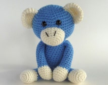 Crochet Amigurumi Monkey, Blue Monkey, Plush Monkey, Stuffed Animal Toy, Hand Made Toy, Cute Monkey, Year of the Monkey, Australian Made Toy