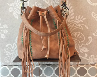 Fringes crossbody bucket bag, tan leather bucket bag, soft leather bag
