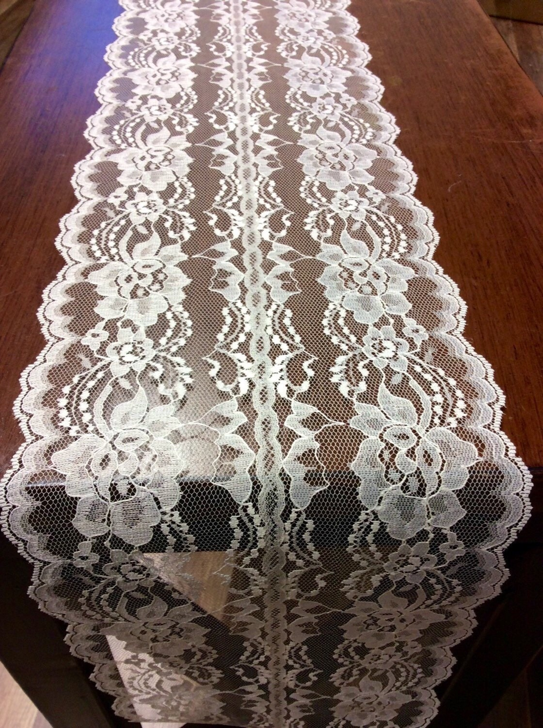 Ivory lace table runner 3ft 10ft long x by lovelylacedesigns for 10 foot table runner