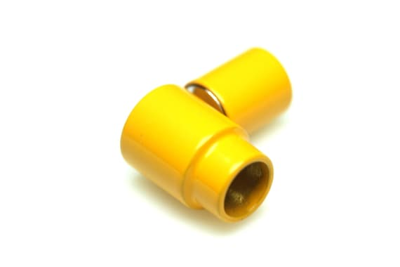 """leather cord magnetic clasp 2 pcs Yellow 19 x 10 mm 0,75"""" x 1,18"""" brass solid brass 6,6 mm 0.26""""  MCL6 Y1177"""
