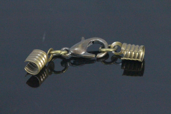 25 pcs antique brass tone (alloy) lobster clasps with (brass) crimp end (3 mm) set (12mm Lobster) Cord tips 12C30B