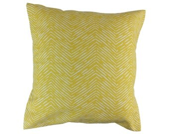 Yellow Chevron Decorative Throw Pillow Covers Yellow Couch Pillow Covers Sofa Pillow Covers Accent Zippered Pillow Yellow Monogrammed Pillow
