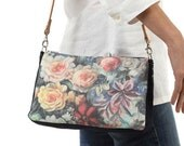 Combined denim Messenger bag with floral print . Small shoulder summer bag . Casual Style. Mod. ROSE