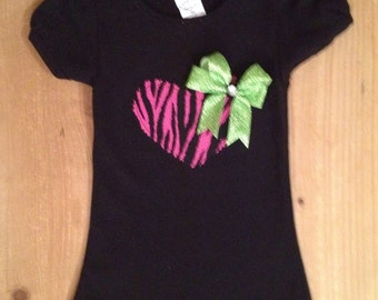 Black Shirt with Hot Pink Zebra Heart Applique Baby Bodysuit or Shirt With Lime Green Bow Accent