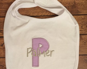 Purple and Grey Initial Baby Bib