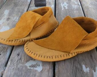 Women's leather Moccasins Inca style low cut native American aztec leather bison hide hippie larp festival