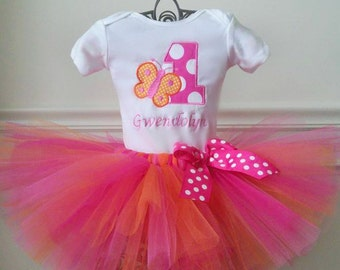 1st Birthday Butterfly Tutu Outfit, Orange and Hot Pink Butterfly Outfit