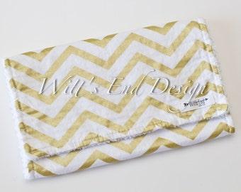 Gold Chevron Burp Cloth, Modern Gender Neutral Burp Cloth-Mix & Match-Super Absorbent Chenille, Baby Shower Gift- METALLIC GOLD CHEVRON