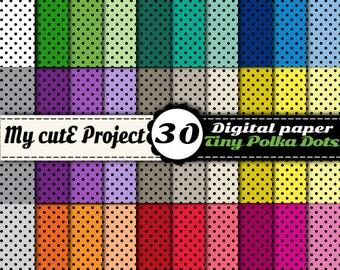 """Tiny Polka dots DIGITAL PAPER  - Instant Download - Black Polka dots - Scrapbooking - 30 colors -A4 & 12x12"""""""