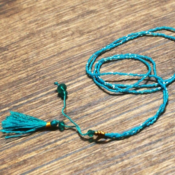 Teal Beaded Tassel Necklace | Bali