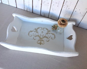 Wooden tray - serving tray - white tray - shabby chic - cottage chic