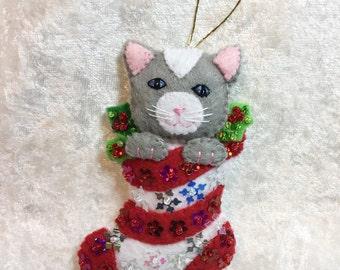 Grey kitten ornament.