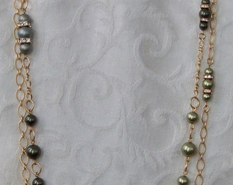 Green and Gold Long Chain Necklace