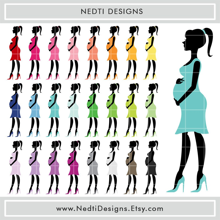 Pregnant Woman Clipart Rainbow Color Pregnant Mom Expecting