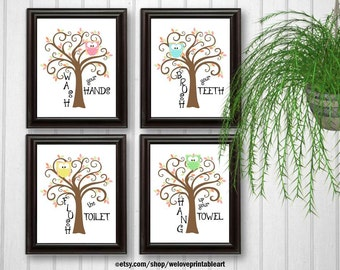 Kids OWLS Bathroom Decor Art Bathroom Artwork Printable Art Print Instant  Download Bathroom Wall Quote SignOwl bathroom decor   Etsy. Bathroom Artwork. Home Design Ideas