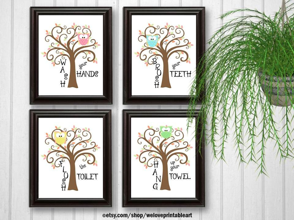 Kids Owls Bathroom Decor Art Bathroom Artwork Printable Art